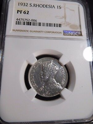 INV #S36 British Africa Southern Rhodesia 1932 Shilling NGC Proof-62