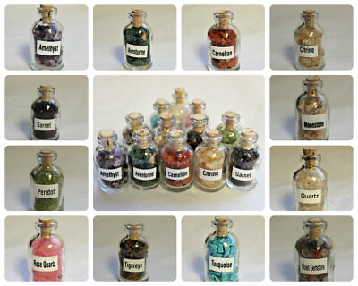 Mini Gemstone Chip Bottles: U Choose Type (Crystal Healing Tumbled Gem Stones)