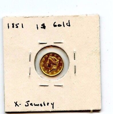 1851 1$ Gold Coin Removed From Old Ring....starts @ 2.99