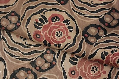 Antique French faded floral fabric material cotton 1920 Art Deco black brown