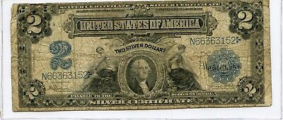 1899 Baby Porthole Silver Certificate Large Size 2$ Note...starts @ 2.99