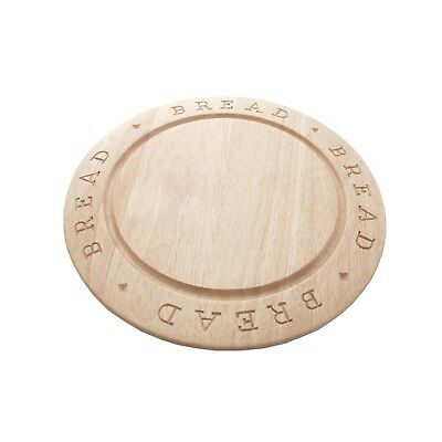Rubberwood Bread Board Round Carved 1210