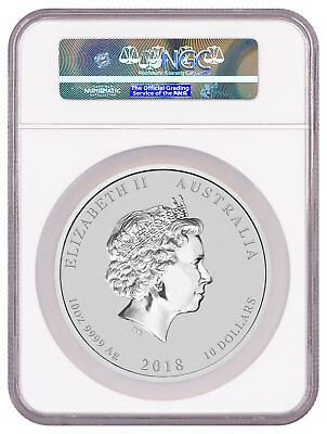 Year of Dog 10 oz Silver Lunar (S2) $10 NGC MS70 ER 2018 P Australia SKU50332