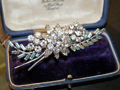 Old Vintage Jewellery Topaz Baguette & Clear Rhinestone Bar Brooch Shawl Pin
