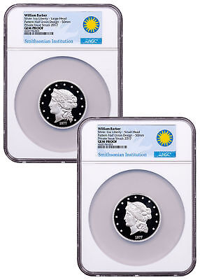 2-Coin (2017) Smithsonian Barber $50 Half-Union Silver Medal NGC GEM PF SKU49960