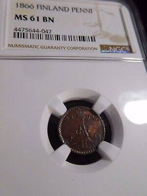 INV #S133 Finland 1866 Penni NGC MS-61 Brown