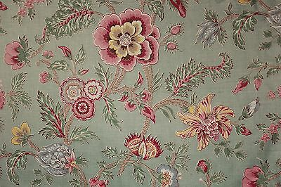 Vintage indienne fabric french upholstery textile green 32 for Architecture indienne