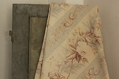 Antique French printed cotton fabric faded GREY GRAY rose neutral tones old ~ ~