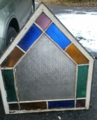 Antique wooden frame stained glass window