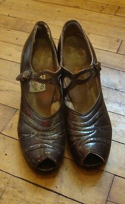 Vtg 1940's Brown Leather Peep Toe Shoes * Size 8 Narrow