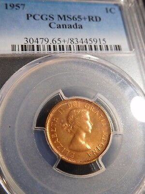 INV #S152 Canada 1957 Small Cent PCGS MS-65+ Red