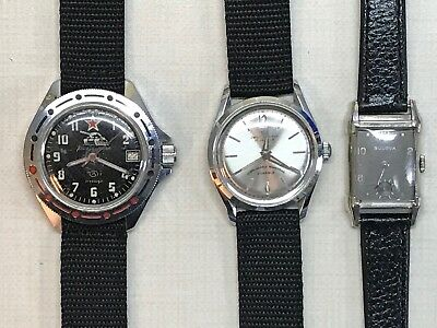 Vintage Mechanical Watch Lot of 3 Jean Cardot Bulova Vostok FOR PARTS OR REPAIR