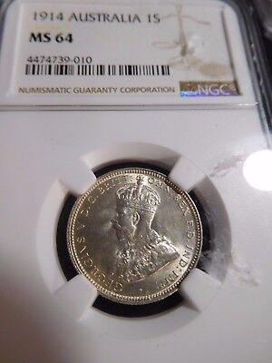 INV #S186 Australia 1914 Shilling NGC MS-64 RARE This Nice! See Auction Records