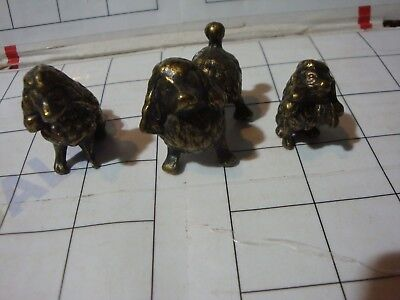 LOT 3x vintage solid brass animals shelf figures THREE POODLE DOGS dog set