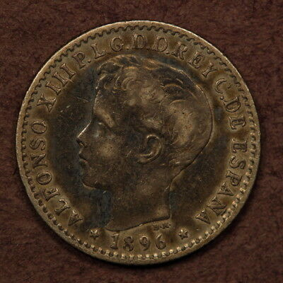 Puerto Rico 10 Centimes 1896 Date Doubling Silver ChVF