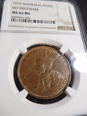 INV #S206 Australia 1919 Penny No Mint Mark NGC MS-62 Brown