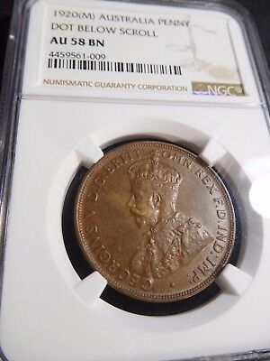 INV #S207 Australia 1920(M) Penny Dot Bellow Scroll NGC AU-58 Brown