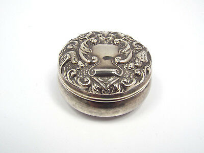 Birmingham B & Co. Solid Sterling Silver Ornate Repousse Pill Trinket Box, 15.7g
