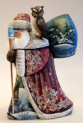 """G. DeBrekht Wilderness Santa with Owl  Height 9"""" Limited Edition 15/175 In Box"""