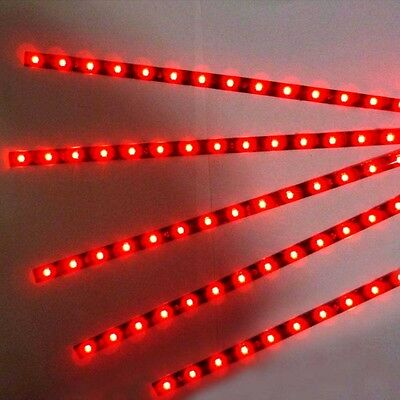 5pcs 30cm 12V 15LED Strip Light Flexible Waterproof  Red For Car Motor Vehicle U
