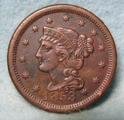 1853 Braided Hair Large Cent XF * Circulated US Coin *