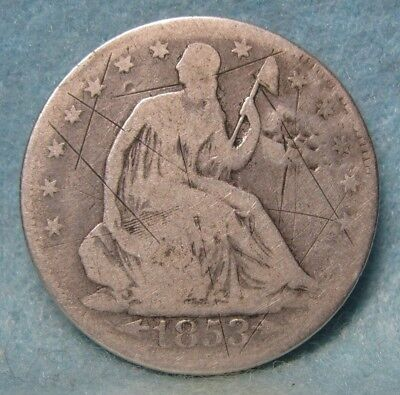 1853 Seated Liberty Silver Half Dollar * Circulated US Coin *