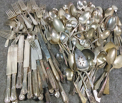 Huge Lot/180 Craft-Grade Silverplate Flatware Mixed Pattern Fork Knife Spoon Vtg