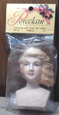 "NEW ~ Porcelain Lady Doll Head & Hands. 3"". Wal-Mart. 983-74. 76 mm"