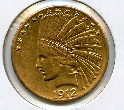 1912 Indian Head $10 90% Gold Eagle Coin Raw Uncertified RR881