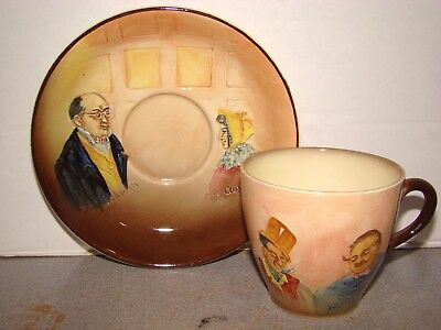Royal Doulton Dickens Ware Relief Cup & Saucer D5833