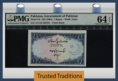 Tt Pk 9A 1964 Pakistan 1 Rupee Pmg 64 Epq Choice Uncirculated Pop 9 None Finer!