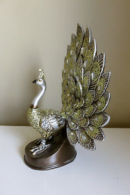 Peacock Figurine Decor Full display  new Feather Dance Ornament Resin 8.5 in.