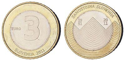 OA.183) SLOVENIA 3 euro 2011 / 20th Anniversary of Independence / XF+