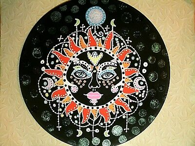 Recycled Vinyl Record Celestial Sun Painting Wall Decor Hand Painted OOAK