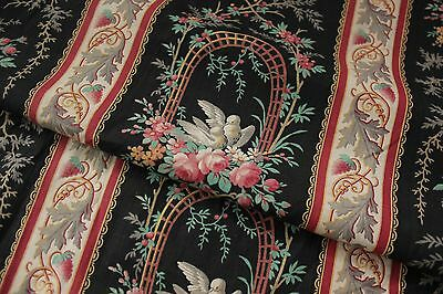 Antique French black curtain c1880 printed bird floral basket fabric w/ ruffle