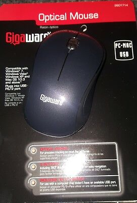 Gigaware Wired 3 button Optical Mouse Black USB with PS/2 port adapter included