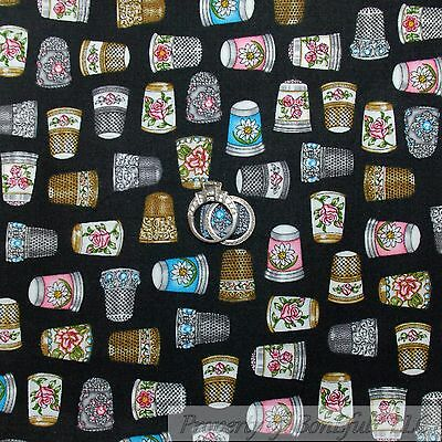 BonEful Fabric FQ Cotton Quilt Black Gold Silver Girl Sewing Embroidery Thimble