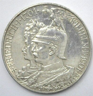 Prussia 1901-A Silver 2 Mark -German States- Choice Almost Uncirculated C#128