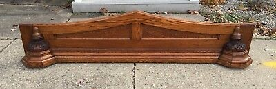 "Antique Carved Oak Wood Pediment 90"" Crown Architectural Salvage Mantle Church"