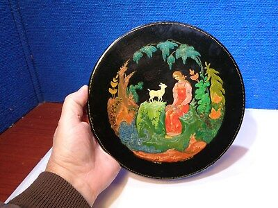 Vintage Russian Artist Signed Handpainted Black Lacquer Wall Plate