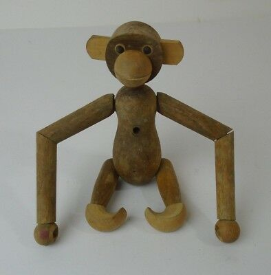 "Vintage 1950s Zoo Line Wood MONKEY Figure 7"" Toy Jointed Articulated Mid Century"