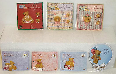 Cherished Teddies Lot of 7 Jewelry Pieces 4 Pins + 3 Pins with Earrings Sets NEW