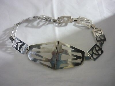 Superb Rare Large Vintage Art Deco Style Hallmarked Sterling Silver Belt/Buckle