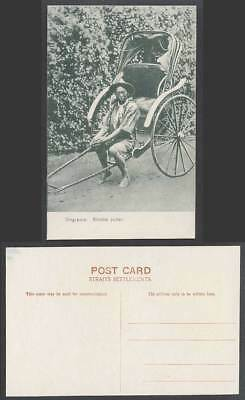 Singapore Old Postcard Rikisha Puller, Native Malay Coolie Rickshaw Barefoot Hat