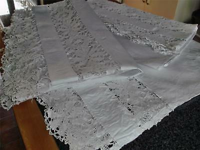 Rare Set Of Three Antique Heavy Linen And Cluny Lace Valances, One As Found