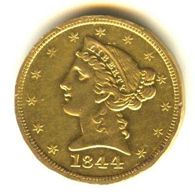 1844 O $5 Gold Piece AU Details In Grade Liberty Half Eagle No Motto Scarce Gold