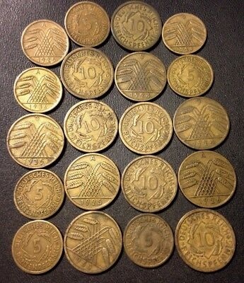 Vintage Weimar Germany Coin Lot - 1924-1936 - 20 Great Coins - Lot #N14