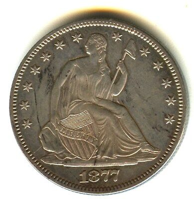 1877 P Seated Liberty Half Dollar MS Details In Grade.