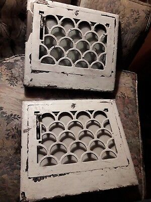 2 Matching Antique Cast Iron Wall Grates Honey Comb Pattern