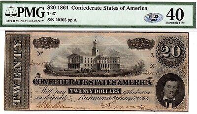 T-67 PF-4 $20 Confederate Paper Money 1864 - PMG Extremely Fine 40 - PLUS!